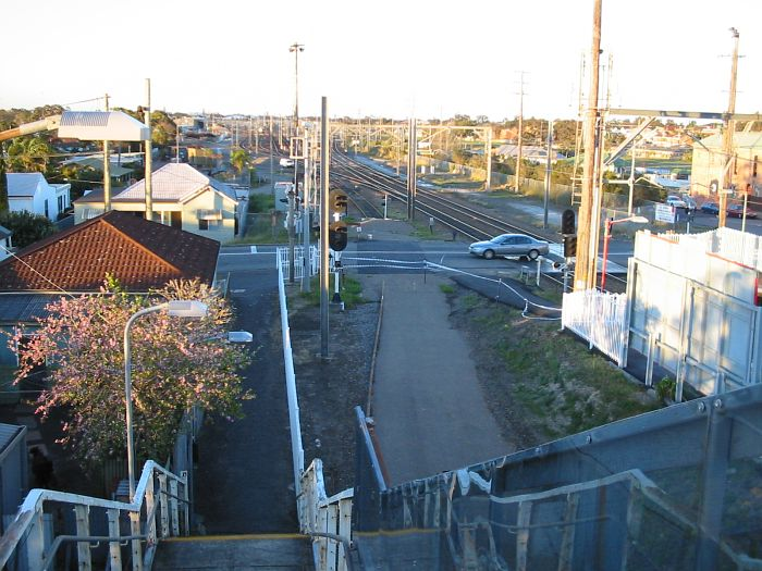 The view looking north.  The remains of the Down Relief line are in the centre, with Broadmeadow Yard in the distance.