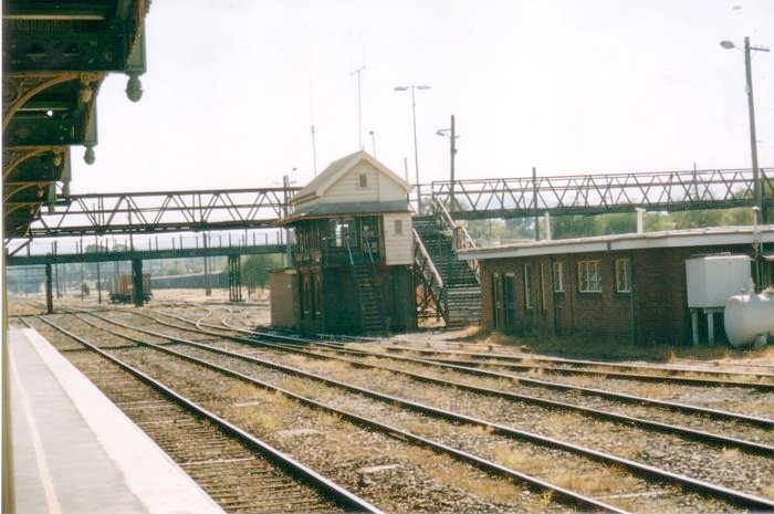 The view looking north towards Albury Station Signal Box.