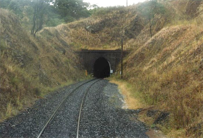 A track-side view of the down portal.