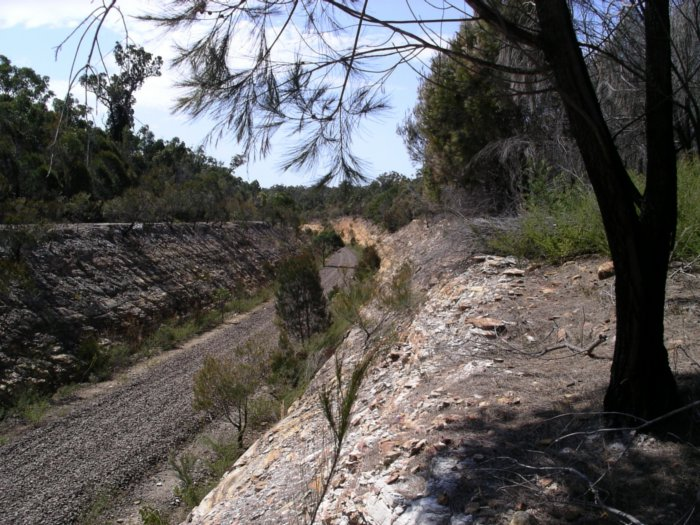 The well-constructed railway cutting at the 110km location.