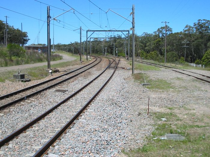 The view looking north at Awaba.  The line on the right is the former branch to Wangi Power Station.