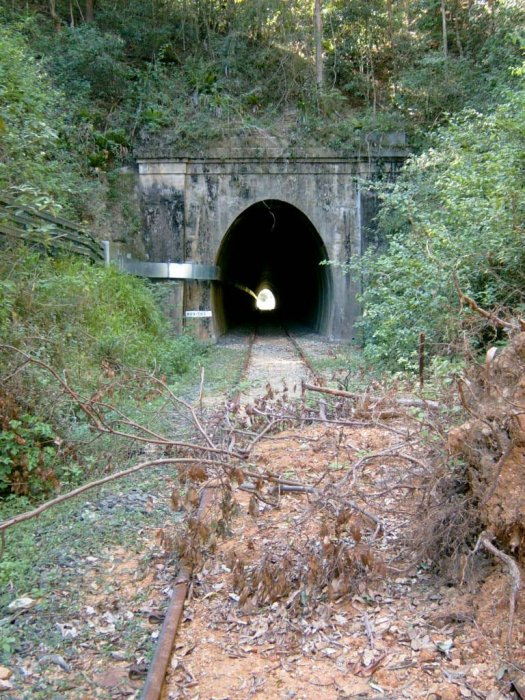 The southern portal looking in the down direction. The high rainfall in the area has caused a land slip across the line. The conduit through the tunnel is part of the Country Energy line that runs along the right of way from Mullumbimby to Murwillumbah.
