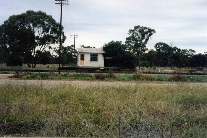 A view of the short platform and safeworking building which still remain at Barellan.