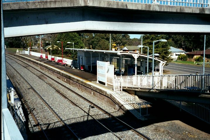 The up platform, looking in the direction of Moss Vale.