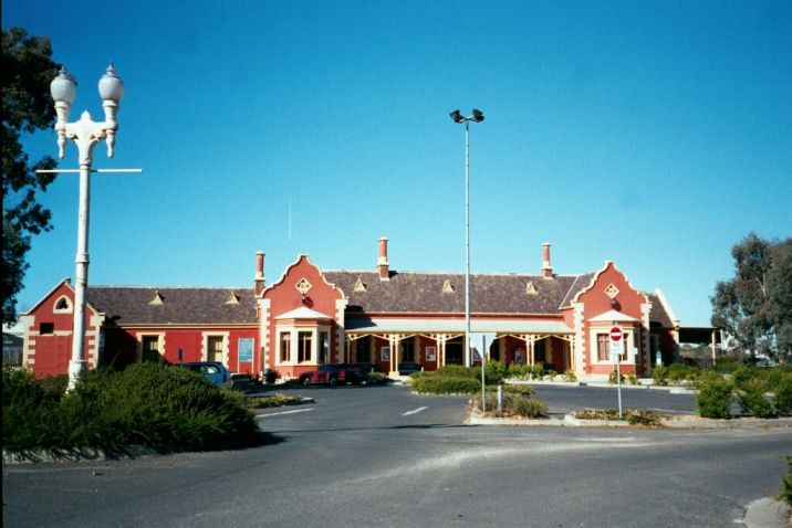 The impressive station building from the street side.  Bathurst has always been an important rail location.