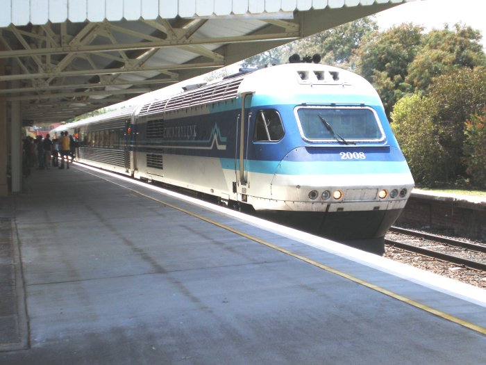 The Dubbo XPT has paused briefly at the station to exchange passengers.