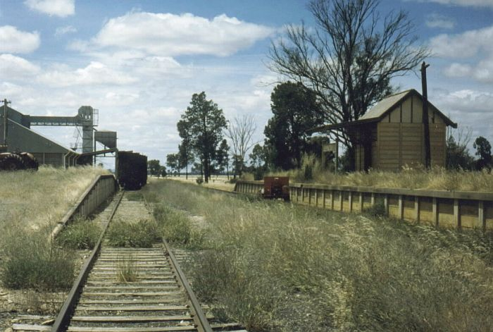 This 1980 scene still shows some activity with freight wagons in the siding and a gangers trike at the platform.  This shot is looking up the line towards Uranquinty.