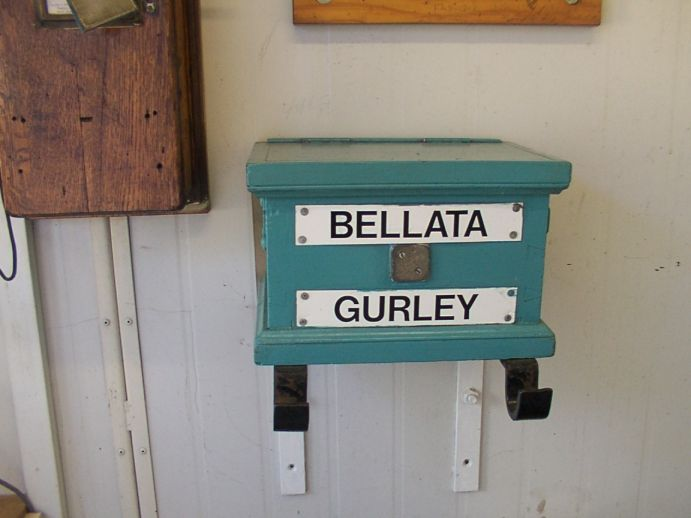 The staff and ticket box for the Bellata - Gurley section.