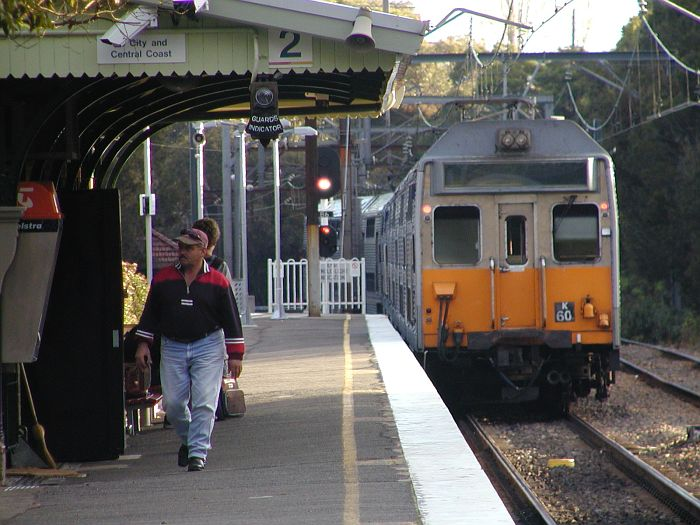Urban passenger set K60 has terminated at Berowra, and is now heading back south crossing over to the Up Main line.