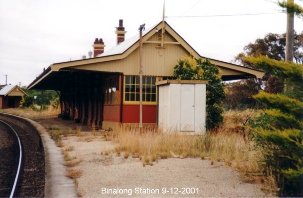 Looking along Binalong station, from the Harden end of the platform.
