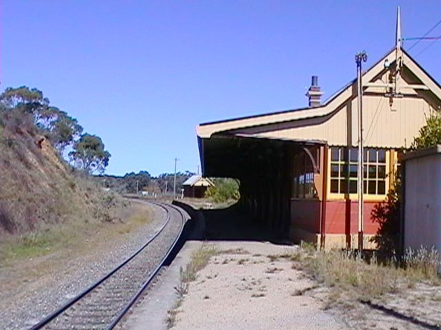 The view of the signal box at the end of the station building.