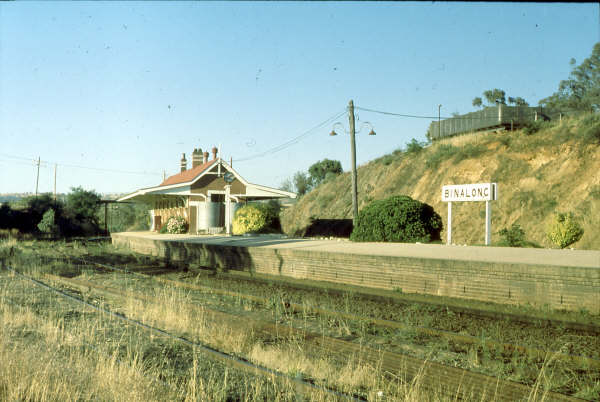Binalong station in busier times and with a more manicured garden.
