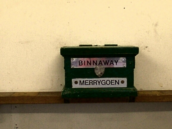 The staff holder and ticket box for the Binnaway - Merrygoen section (the staff is in use).