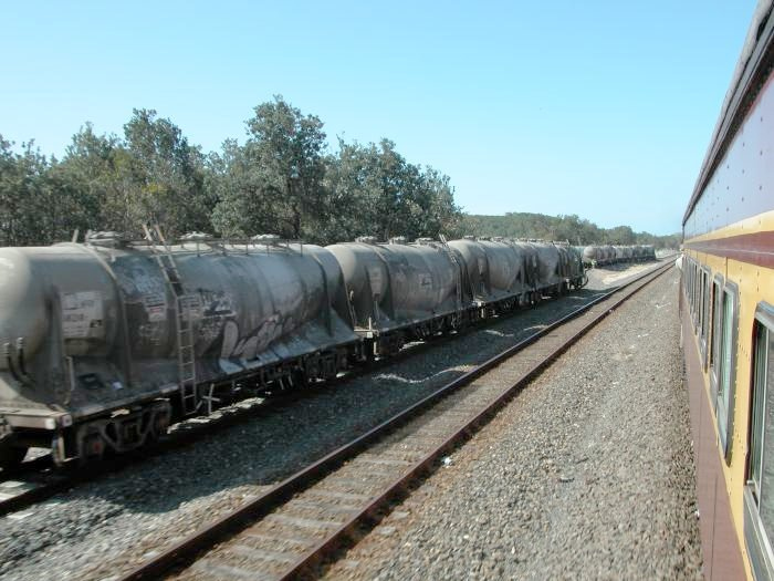 Cement wagons sit in the Blue Circle siding on the far side of the loop line.