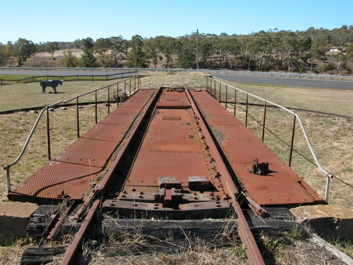 The view looking along the turntable deck towards the engine shed remains.