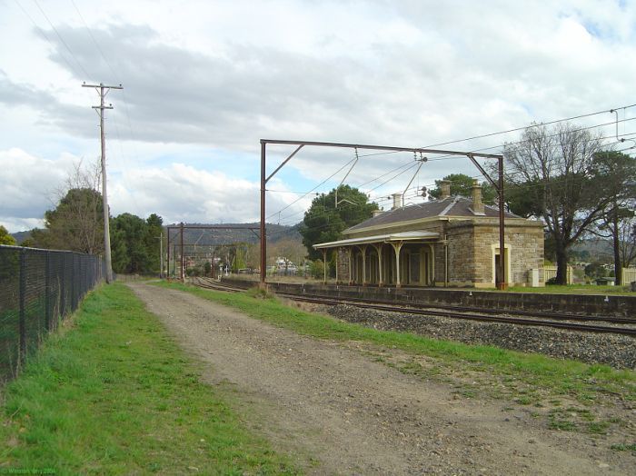 The view of the station looking towards Sydney.  The one-time up platform has been removed.
