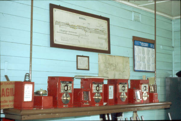 Interior of Bowral Signal Box showing the block instruments. 1980.