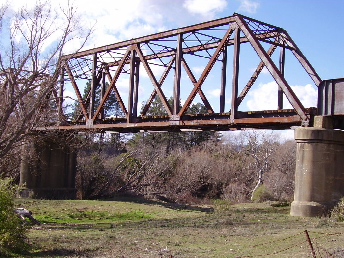 A closer view of one of the spans of the Wollondilly River bridge on the Crookwell branch line.