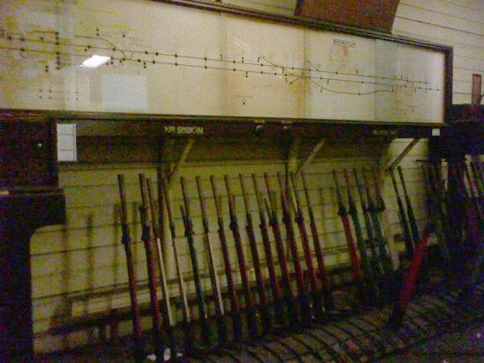 The interior of the signal box on the platform. At the left are the passing loops at Belford, while on the right is Branxton station.