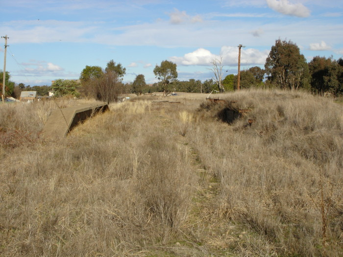 The view looking south towards Tumut of the station remains.