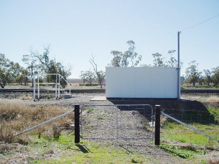 A view looking across to the Staff Hut and Staff Exchange Platform at Breeza.
