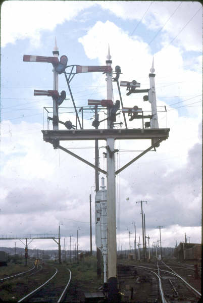 Various signals at Broadmeadow yard, no electric lines to be seen.