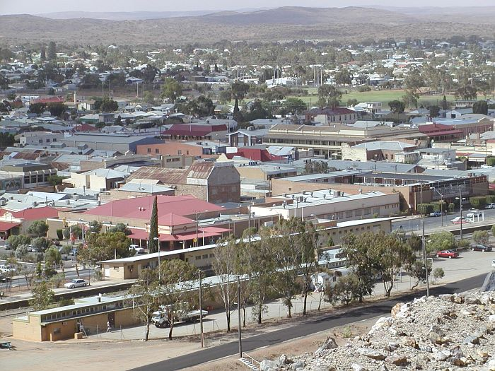 The view of Broken Hill station from the top of the slag heap, looking north.