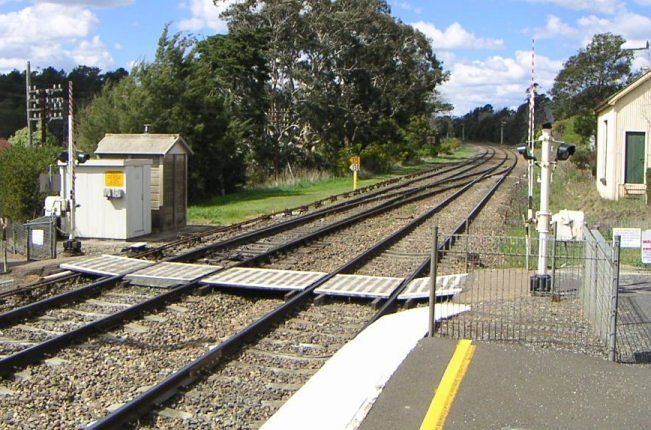 The foot crossing at the Sydney end of the station.