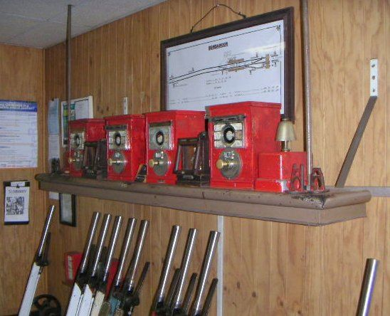 The safeworking instruments in the signal box.