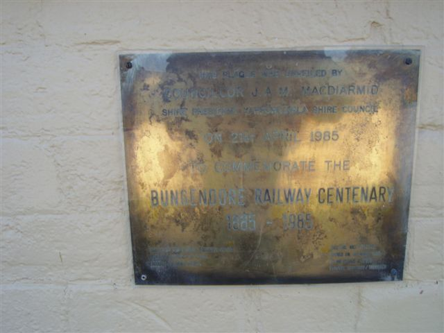A plaque commemorating the centenery of the station's opening.