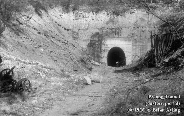 The eastern portal of Bylong Tunnel in 1976. This end of the tunnel was dry, and access to the abandoned workface several hundred metres inside was possible.