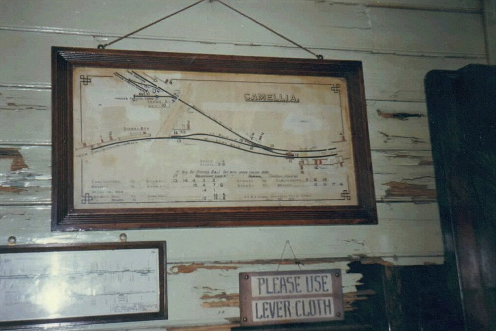 The line diagram in the Camellia Signal Box.  The branch at the top is the short Sandown line.