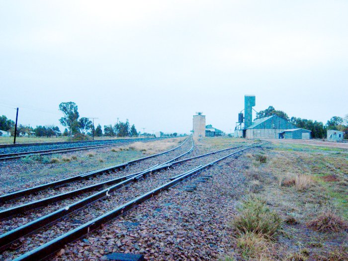 The view looking north towards the silo and dead end sidings.