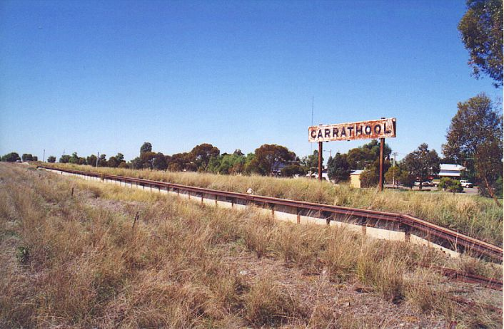 Carrathool still boasts its sign on a relatively long platform.