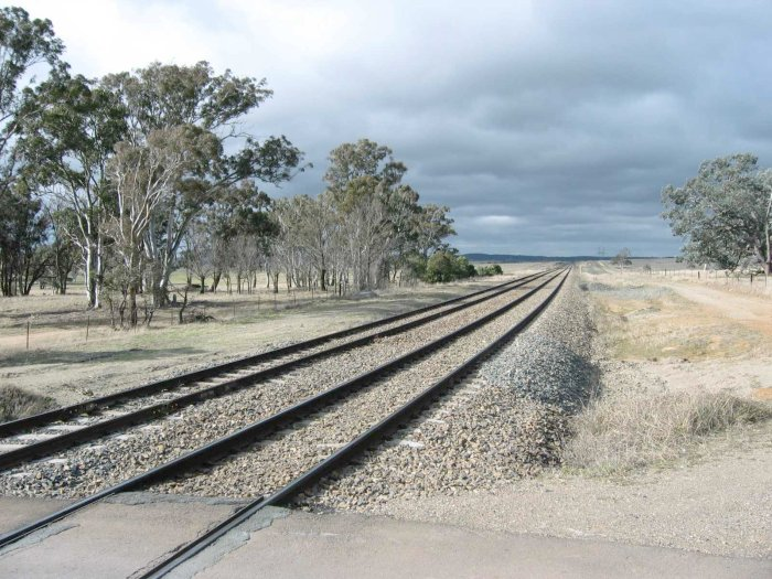 The view from the adjacent level crossing, looking in the direction of Sydney.