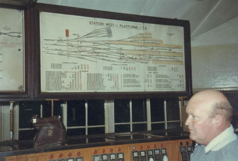 One of the diagrams in Sydney West signal box. This one shows platforms 1 - 4, the main long distance and inter-state platforms.