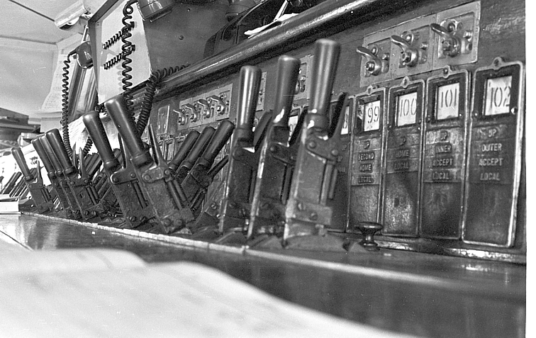 A close-up view of the minature points levers in the Wells Street box.