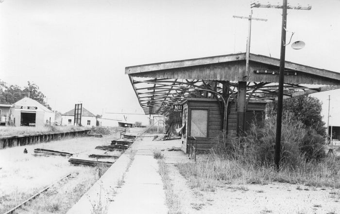 The view looking along the platform to the terminus, during the dismantling of the station.