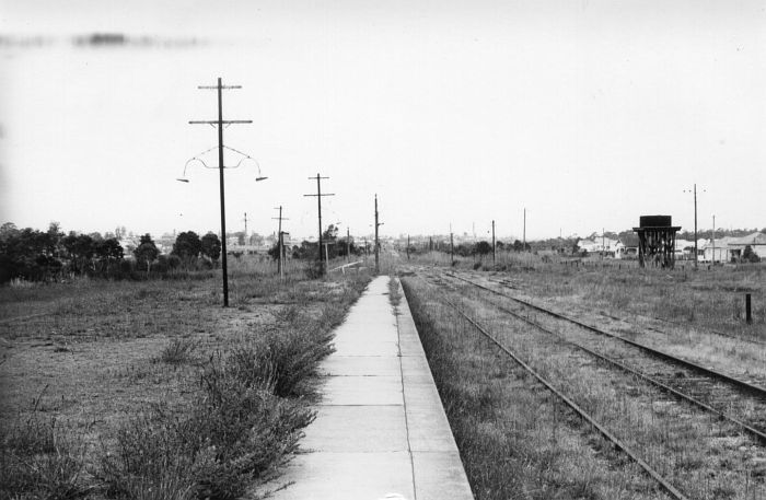The down yard and water tank, looking back in the direction of Maitland.
