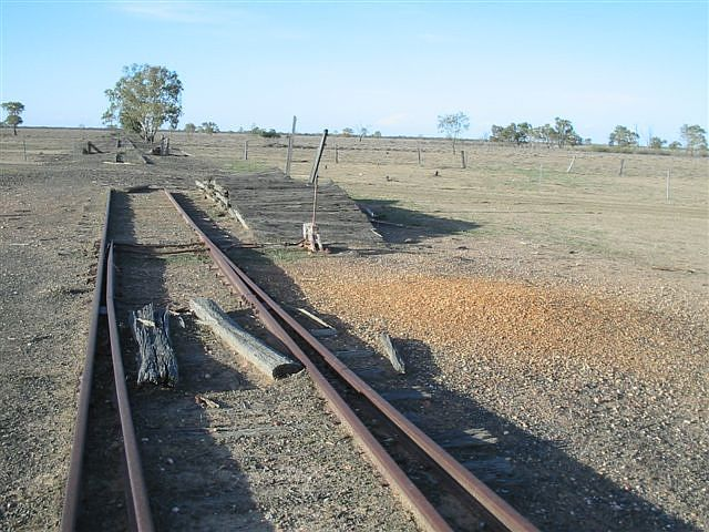 This is a wool loading platform for the shearing sheds that were serviced by the rail line in that time.  The view is looking toward Brewarrina.
