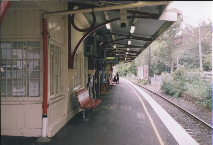 The view looking towards Sydney along platform 2.  The signal box which controlled Chatswood is located at the near end of the building.