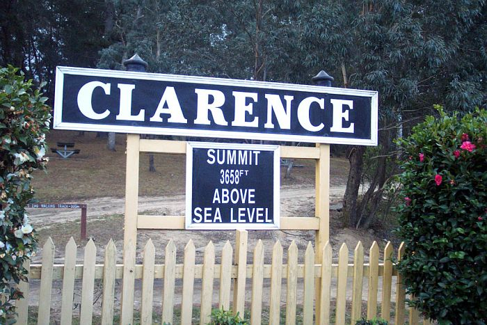 The current signboard for Clarence station.