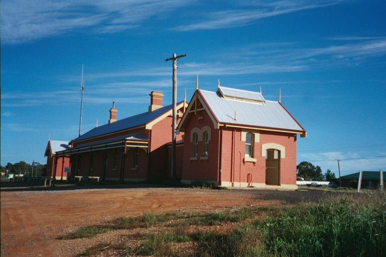 An early morning view of Cobar Station from the non-rail side.