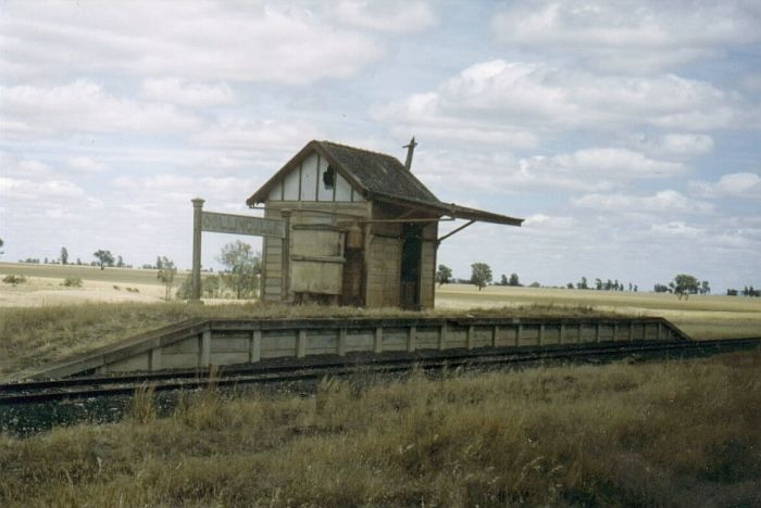 Eight years before the line was closed, the station still sports a waiting room.  Surrounding the station are the wheat fields which were responsible for most of the line's traffic.