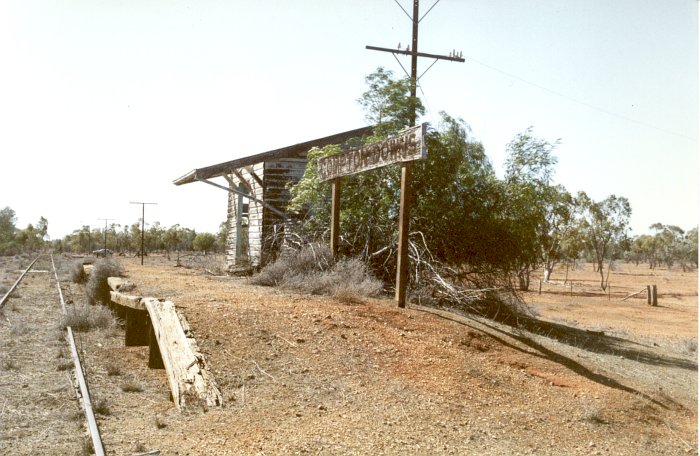 The view looking along the platform in the direction of Brewarrina.
