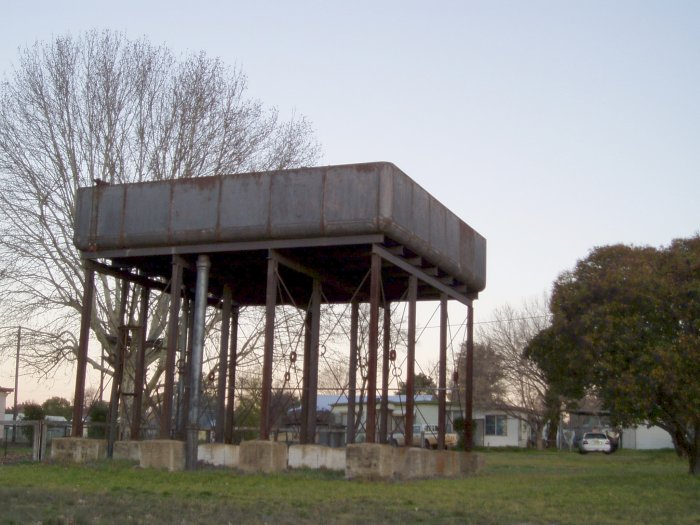 A closer view of the elevated water tank.