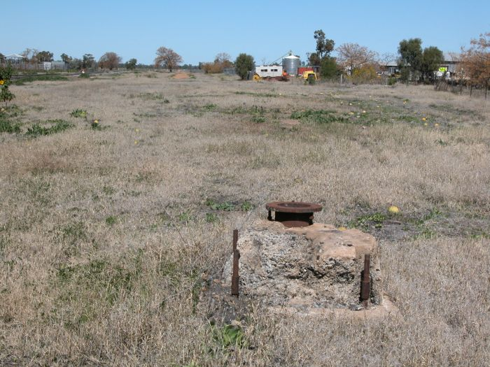 The base for a water column.  The one-time loco facilities were in the background.  All the remains is this and the turntable (in the right distance).