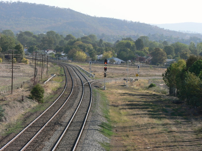 The view looking south towards the north fork of the junction. Cootamundra station is out of shot in the left distance.