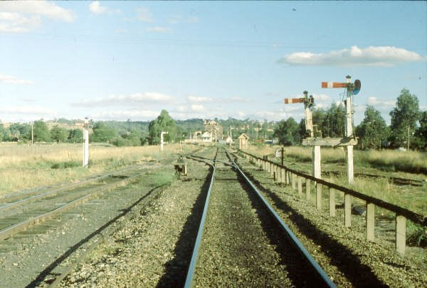 The view looking east towards the station showing the short signals designed that way because of the local airfield close by. Frame B can be seen in the middle.