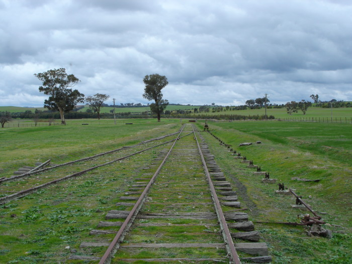 The view of the down end of the siding, looking towards Tumbarumba.